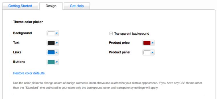 Wix dan Ecwid pengaturan warna