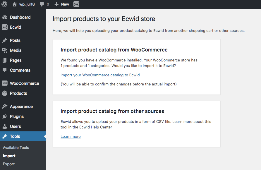 Export your WooCommerce catalog as a CSV file to Ecwid