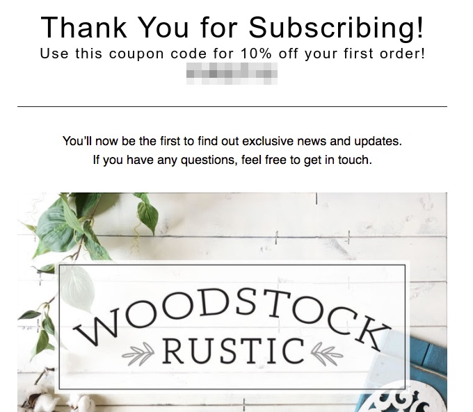 Woodstock Rustic Newsletter