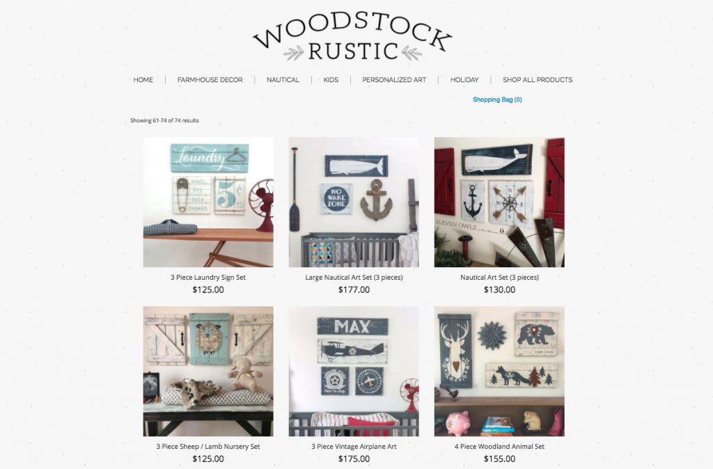 Woodstock Rustic online store on Wix + Ecwid