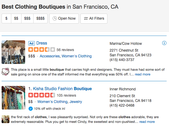 Sample Yelp directory listing for a clothing boutique in San Francisco