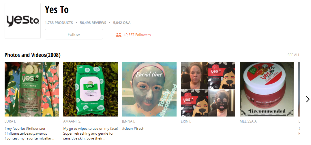 A company's page on Influenster