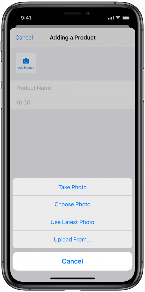 upload product images or create new with Ecwid mobile app