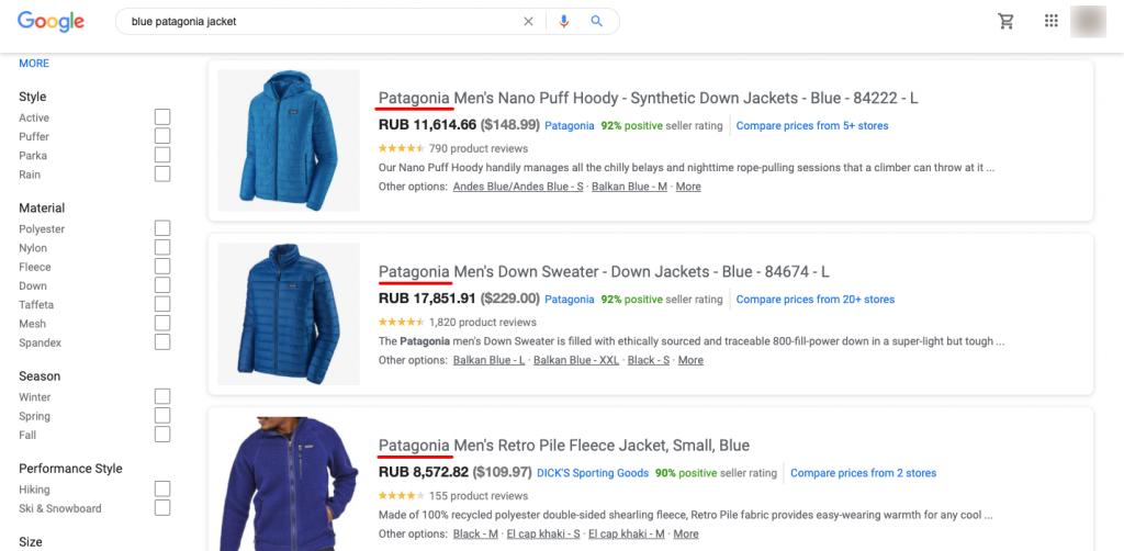blue patagonia jacket - Google Shopping result page