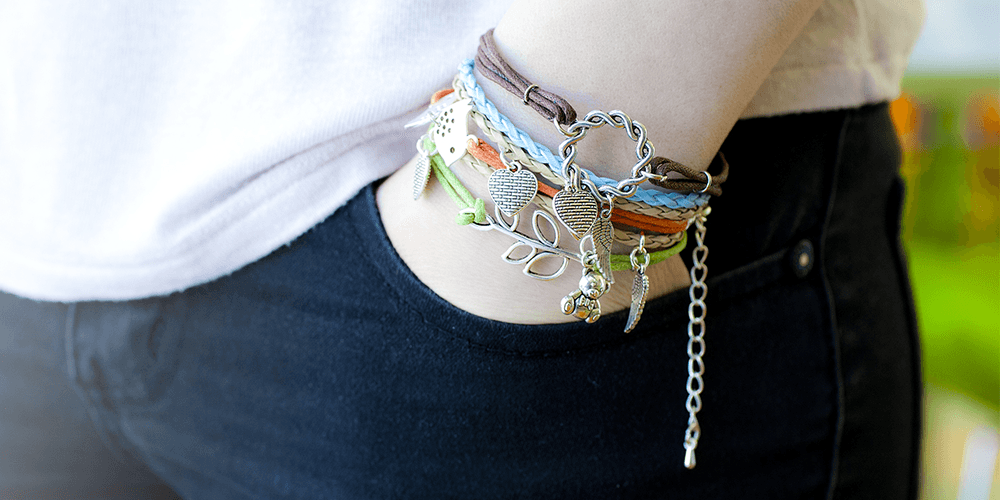 Product photography: bracelets on hand