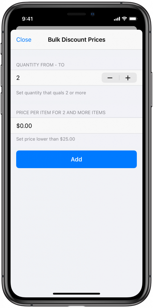 Bulk discount prices in Ecwid mobile app