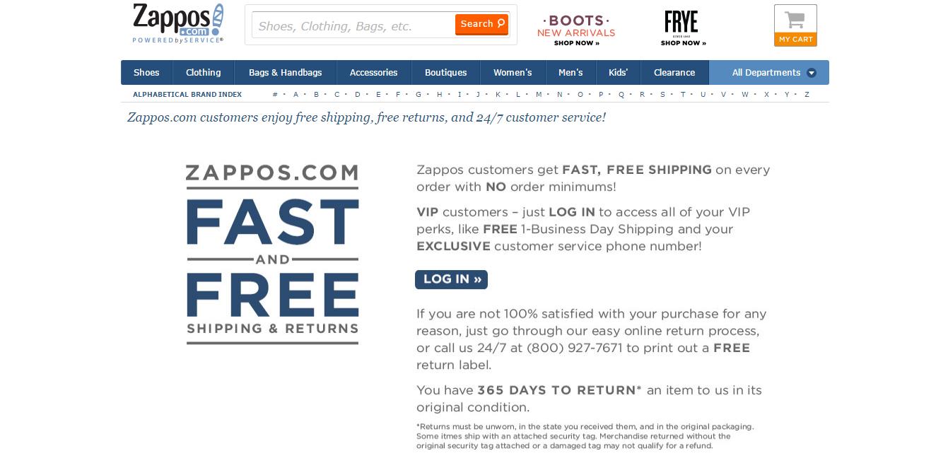 politica di rimpatrio Zappos