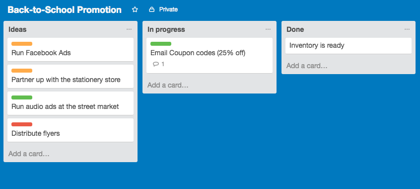 trello interface