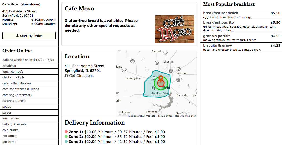 Cafe Moxo, food online delivery