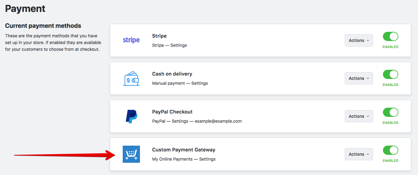 Custom payment integration example