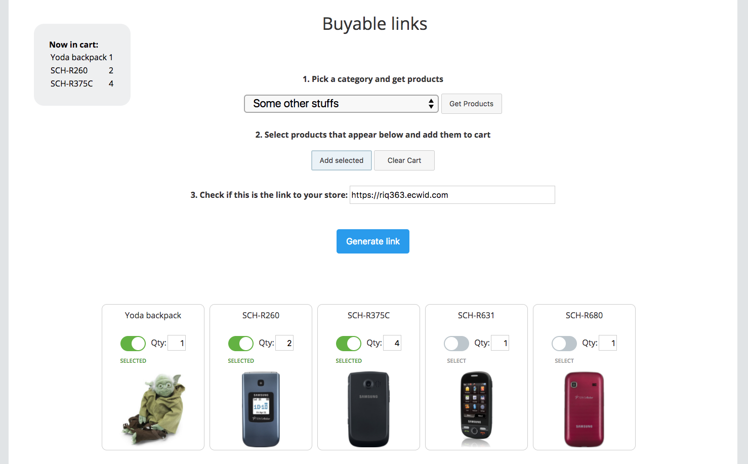 Buyable Links App