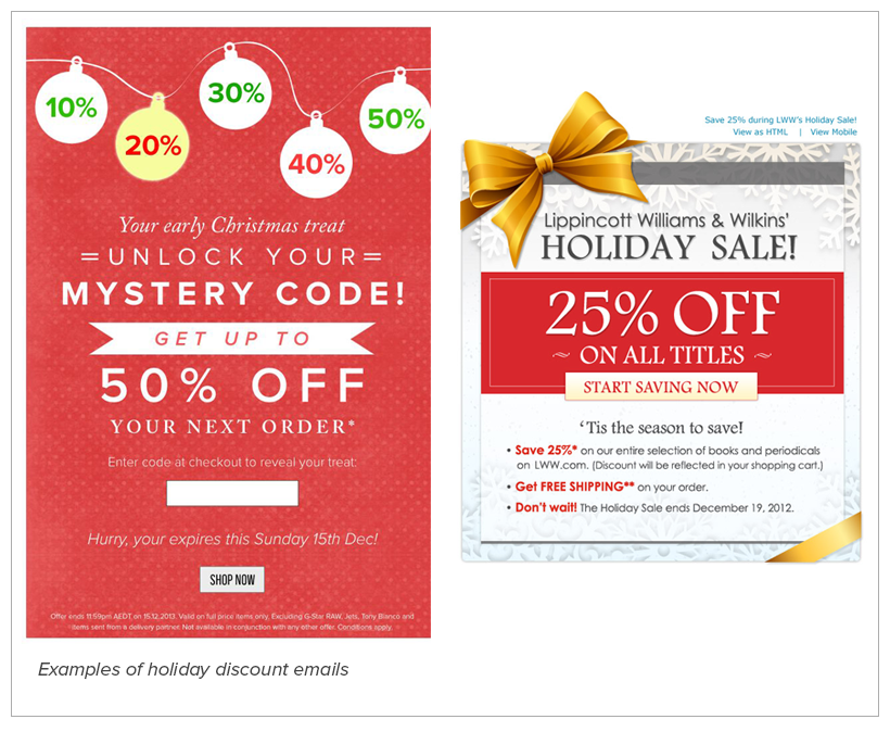 discount email - holiday email marketing