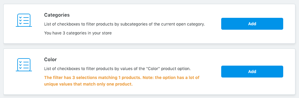 Adding product filters in Ecwid