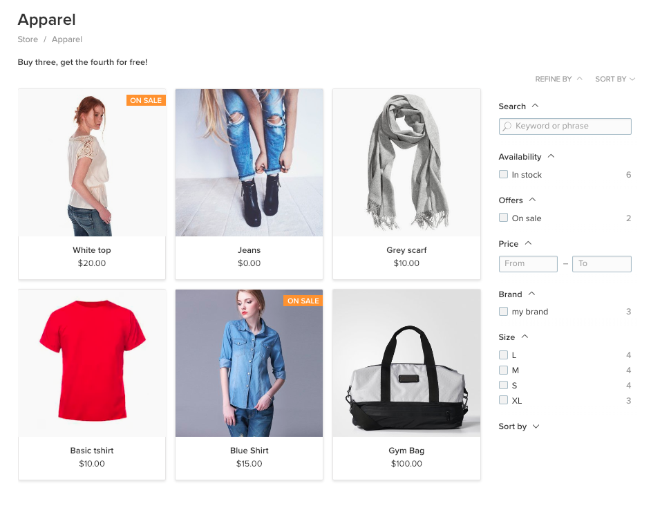 Product filters op categorie pagina's