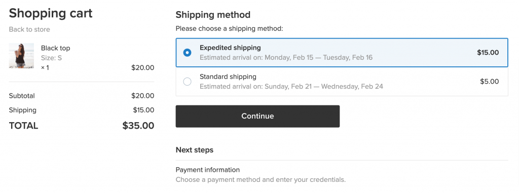 ecwid approximate delivery date feature