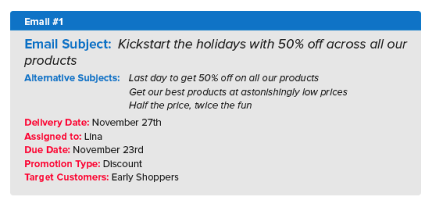 email 1 - holiday email marketing