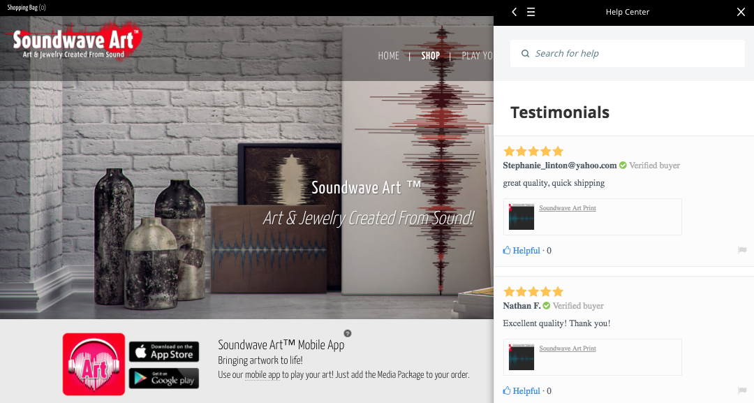 Soundwave Art site customer reviews and testimonials