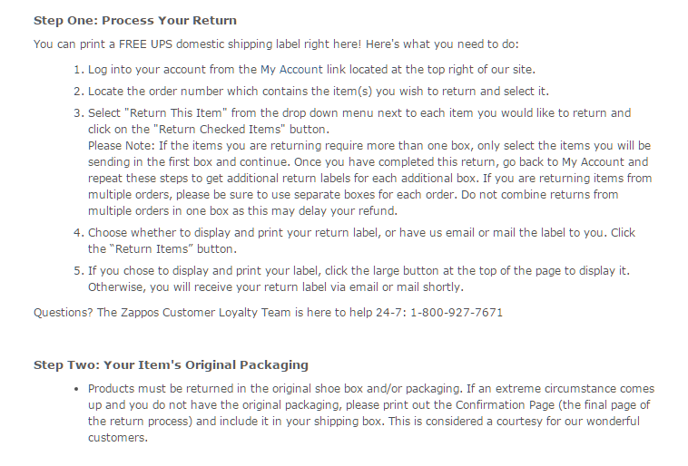 returns instructions at Zappos.com