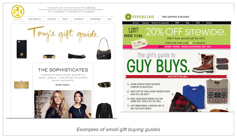 Gift Guide - holiday email marketing