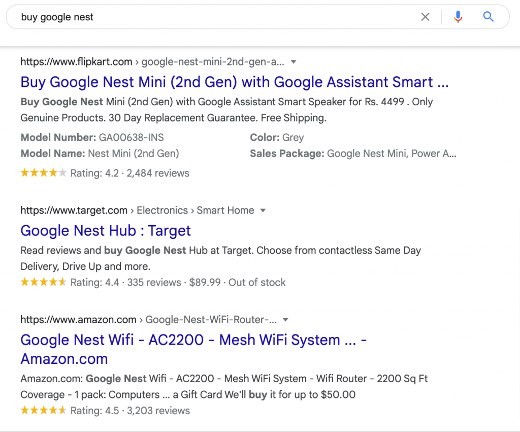 google rich product information in search results
