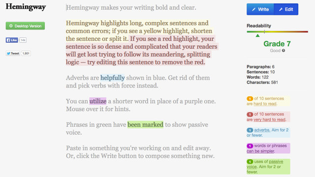 the Hemingway app helps to write an ebook to sell online faster