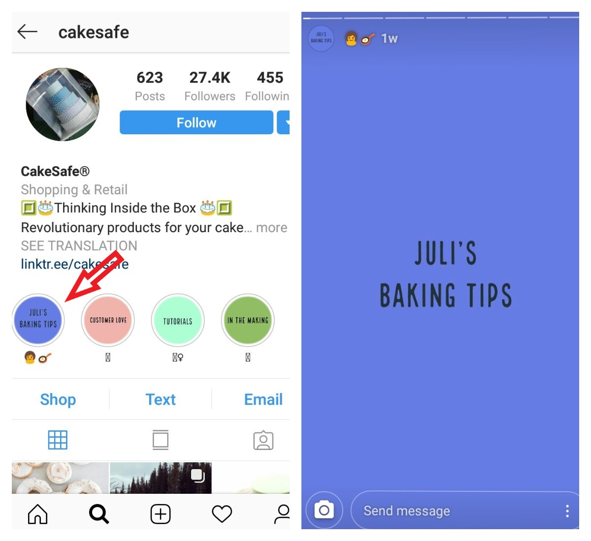 highlights for business profile on instagram