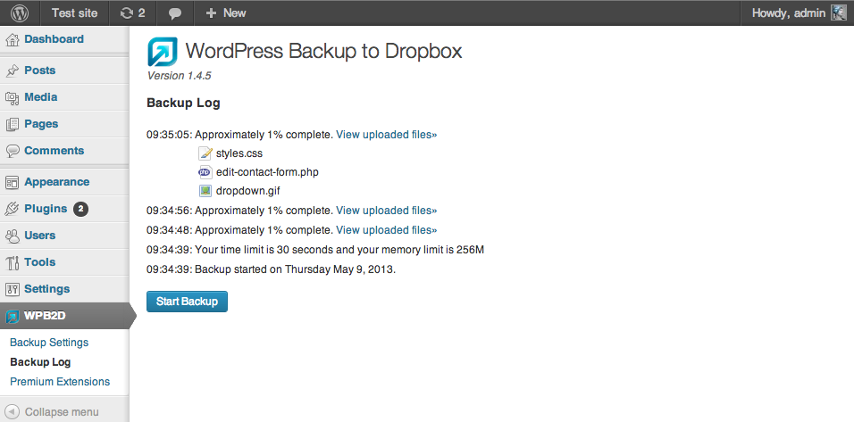 WordPress Backup zu Dropbox
