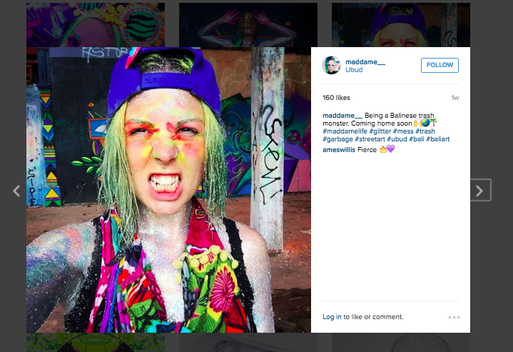 Mad Dame Ecwid store sells glitter but her Instagram profile sparkles with her own events, work, and tutorials