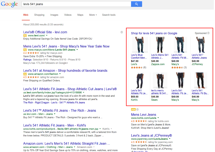 an example of search which displays PPC ads