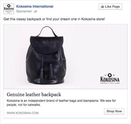 Kokosina campagna di facebook annuncio