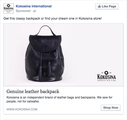 Kokosina facebook ad campaign
