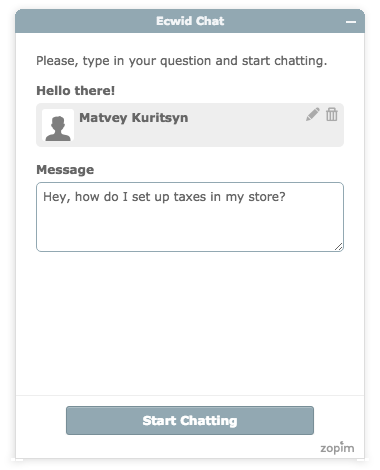 Ecwid support chat