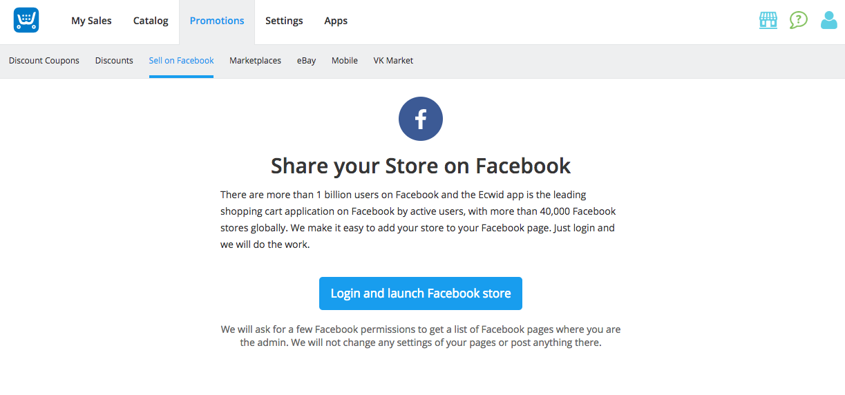 store to Facebook right from the Control Panel