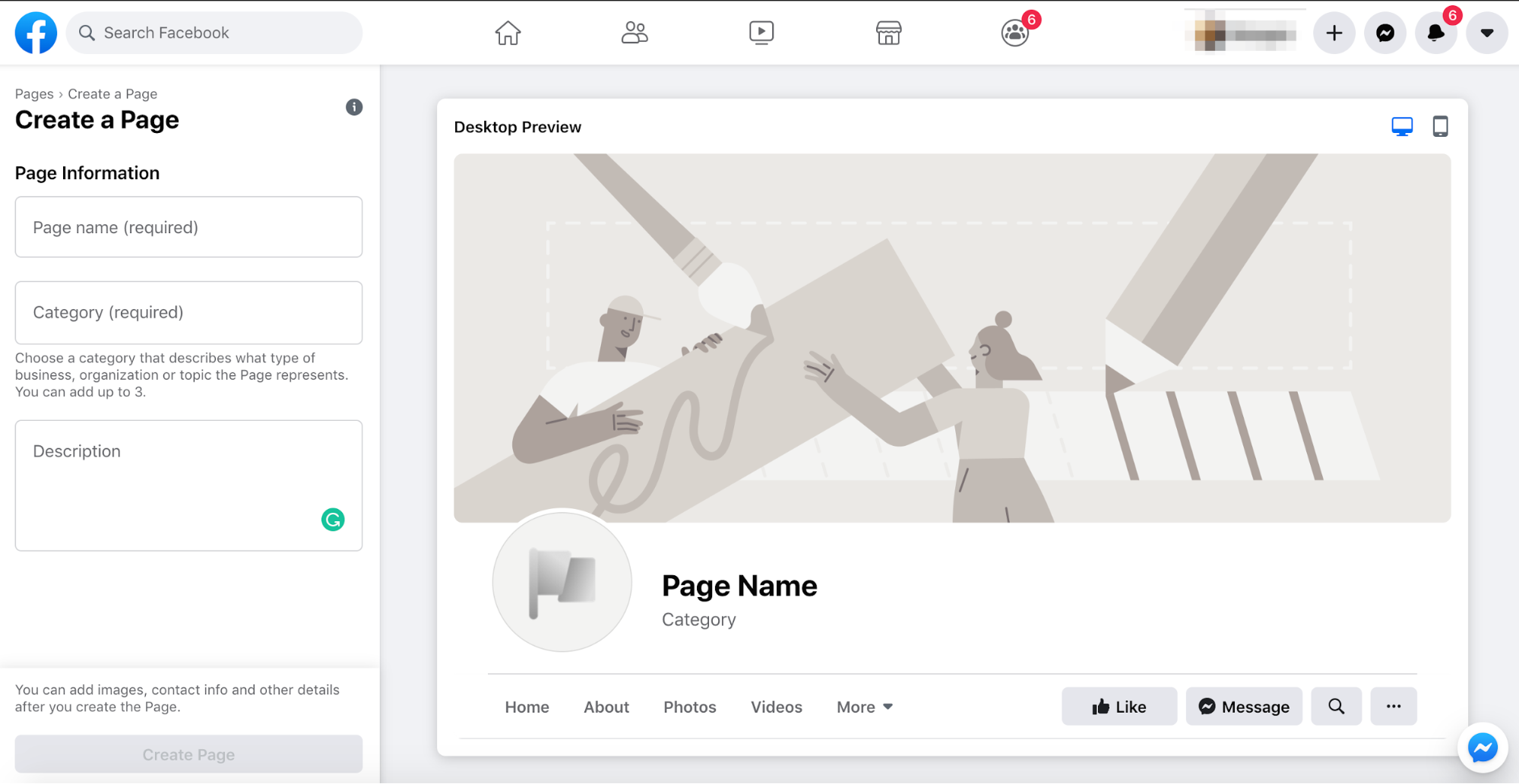 Create a FB page