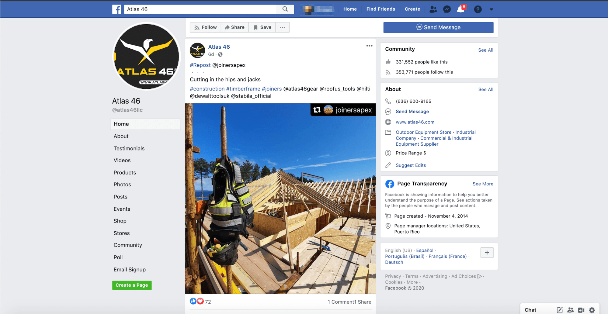 Atlas46, a construction tool business, with 300K followers on Facebook, reshares user content in their feed