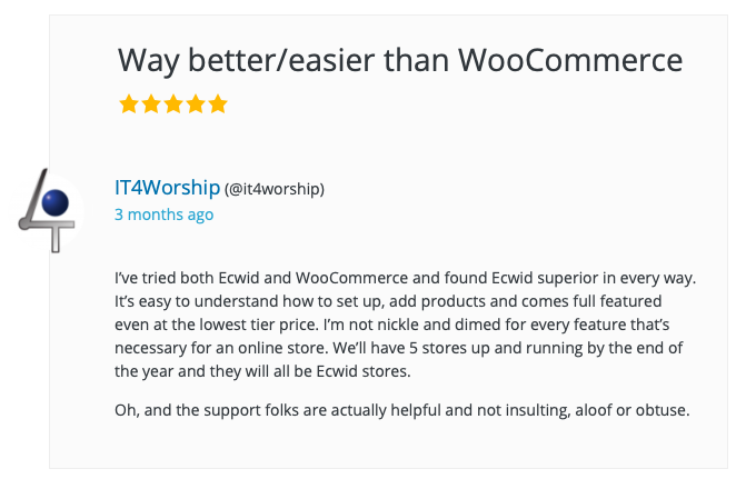 A customer review of Ecwid E-commerce Shopping Cart plugin for WordPress