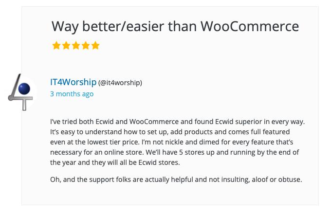 Una recensione del cliente del plug-in Ecwid E-commerce Shopping Cart per WordPress