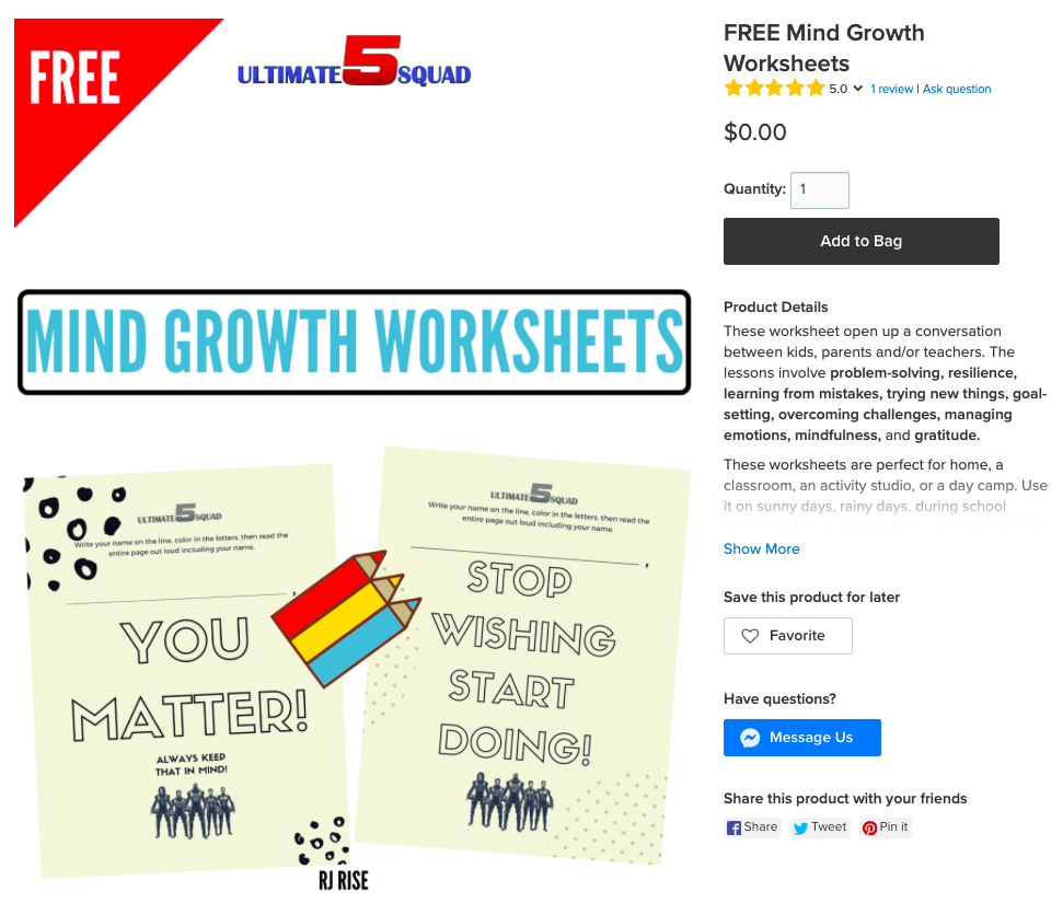 When customers order this free digital download, they get an 11-page worksheet!