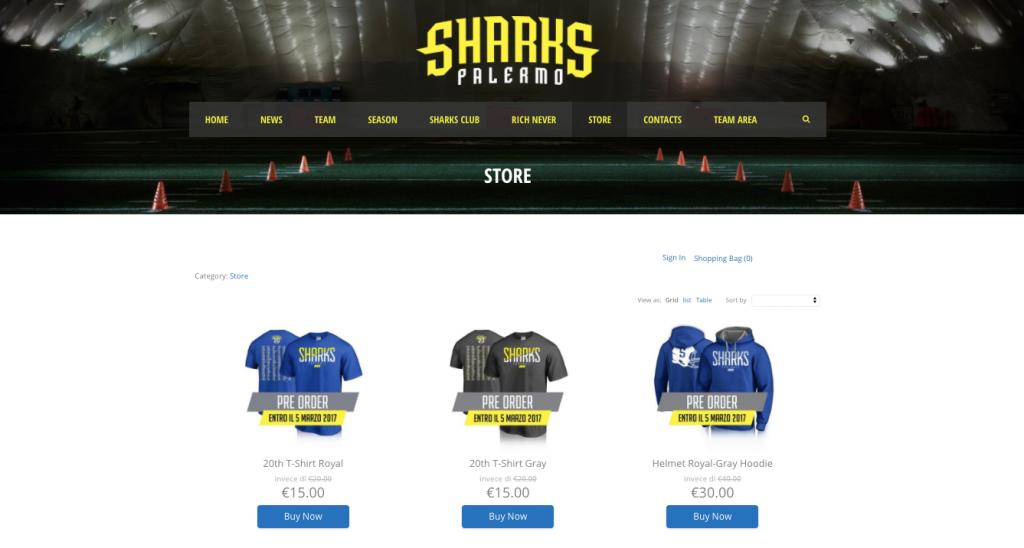 Ecwid store di Sharks Palermo su WordPress