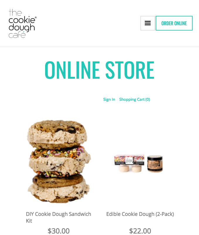 Checkout The Cookie Dough Cafe using the Ecwid WP plugin!