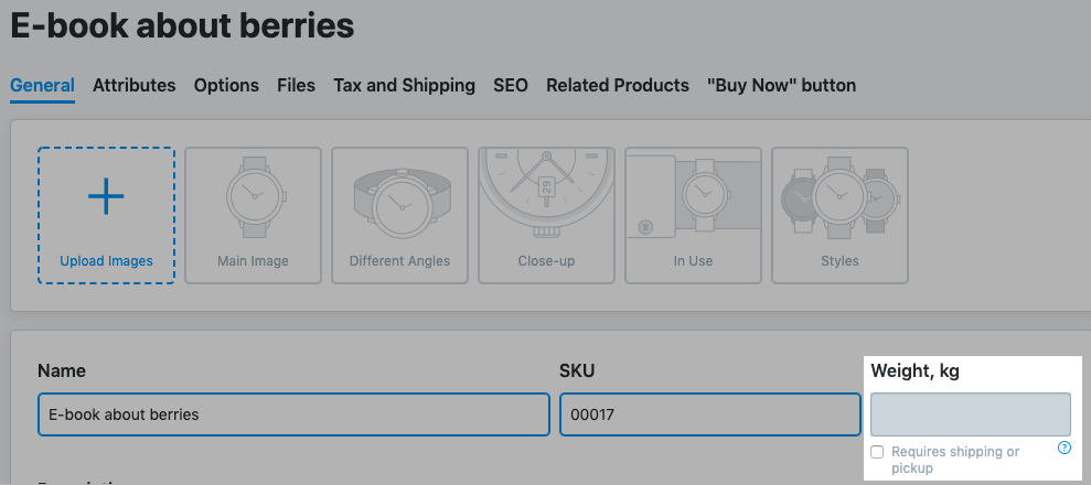 In the General tab untick Requires shipping or pickup: