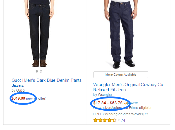 jeans comparaison