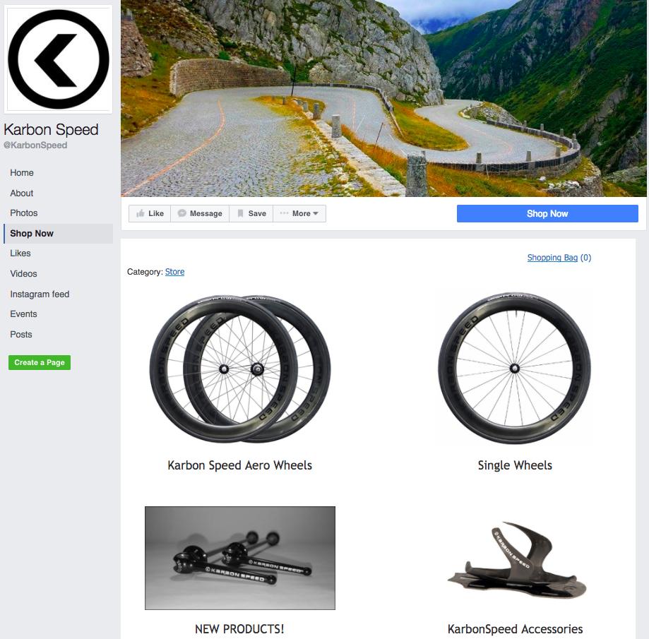 Velocità Karbon utilizzare Ecwid negozio su Facebook