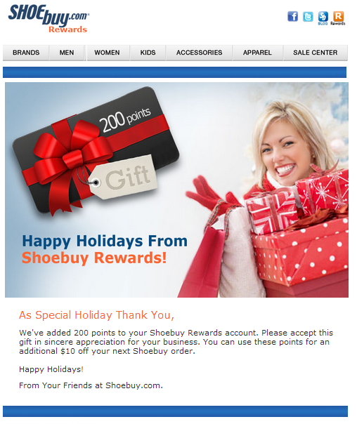 Loyalty points - holiday email marketing