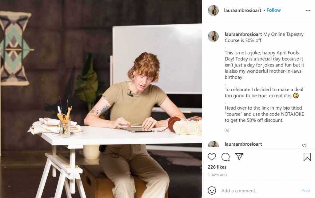 online course instagram promotion example