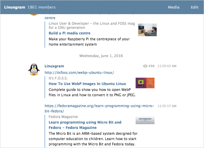 Linux has a Telegram channel too