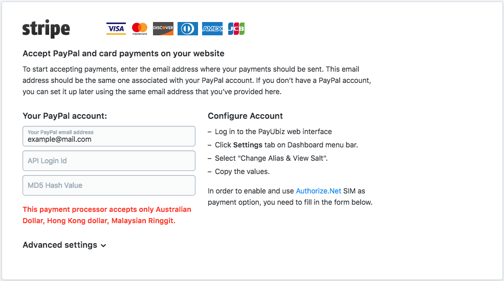 Merchant settings for payment method | Ecwid Developers API
