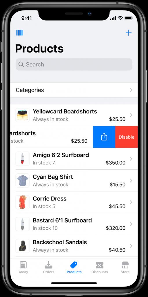 produts list in Ecwid mobile app