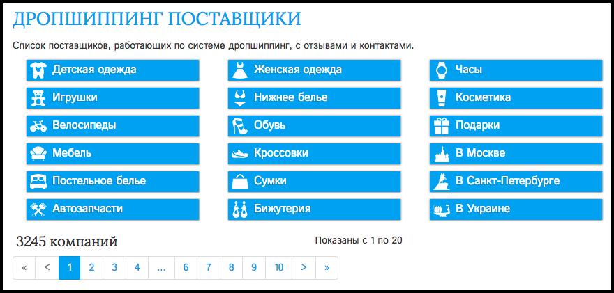 На Поставщики.ру компании можно выбирать по категориям