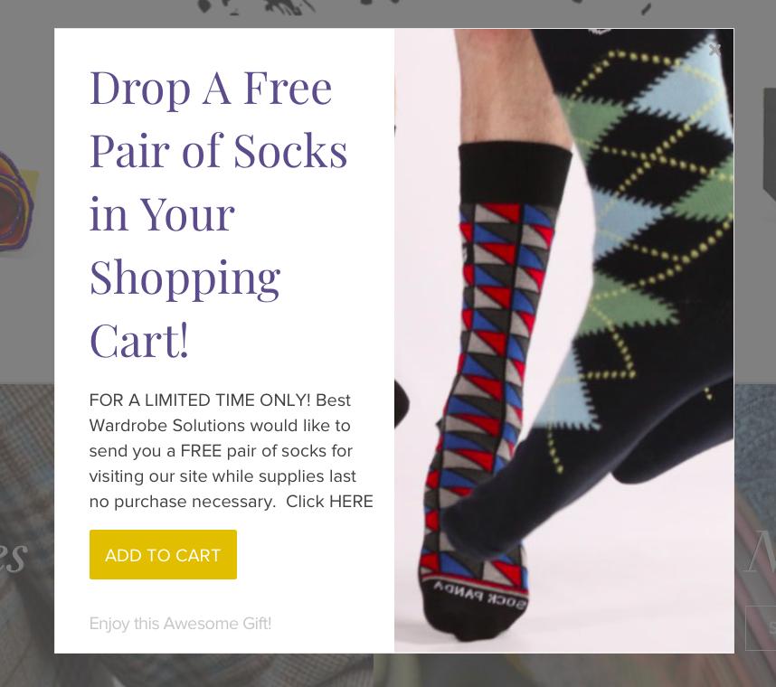 """Попап с подарком в магазине Best Wardrobe Solutions: """"Добавьте в корзину бесплатную пару носков!"""""""